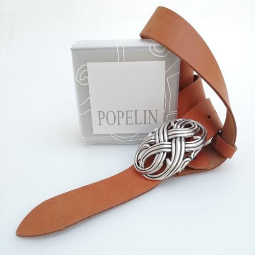 Cinturó de pell fet a mà amb sivella Infinit amb capsa per a regal. Popelin Barcelona.