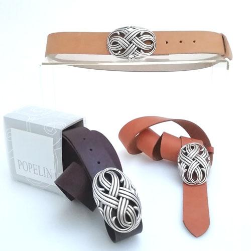 Cinturó de pell amb sivella Infinit. Made in Spain. Popelin Barcelona.