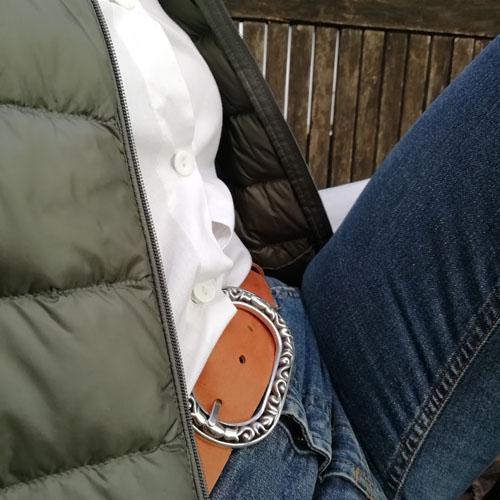 Cinturó de cuir amb sivella Baroque per a dona. Boho-chic Popelin Barcelona