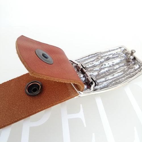 Cinturó de cuir natural amb sivella Natura. Cuir 100% natural. Popelin Barcelona