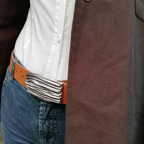 Cinturó de cuir natural amb sivella Natura. Fet a mà. Popelin Barcelona