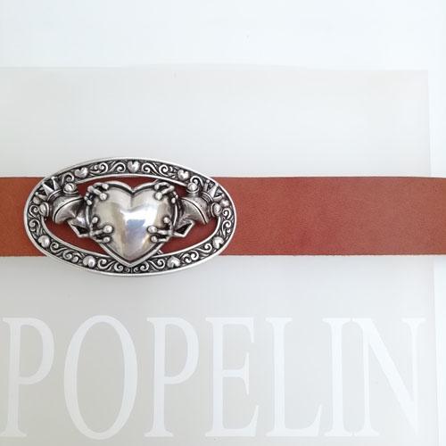 Cinturó de cuir amb sivella metàl·lica. Fet a mà. Popelin Barcelona
