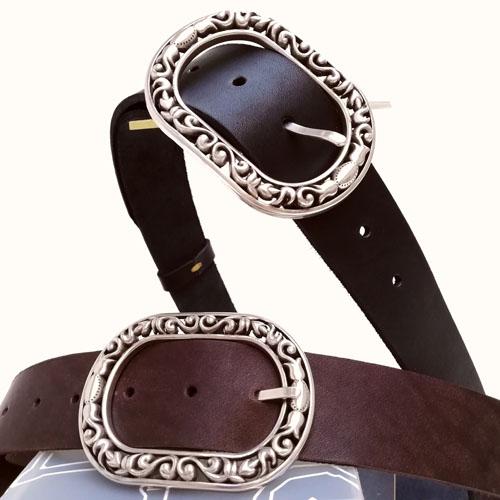 Cinturó amb sivella Baroque, Fet a mà amb cuir natural. Popelin Barcelona