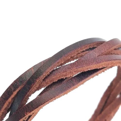 Polsera de cuir Trena ajustable per a home. Regal artesanal masculi. Popelin Barcelona