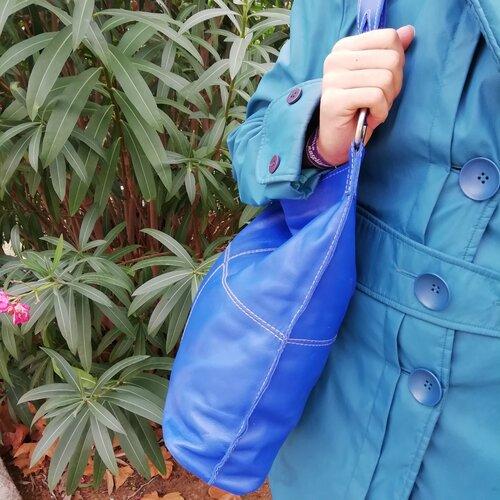 bolso cuero azul hombro mujer popelin barcelona shop online