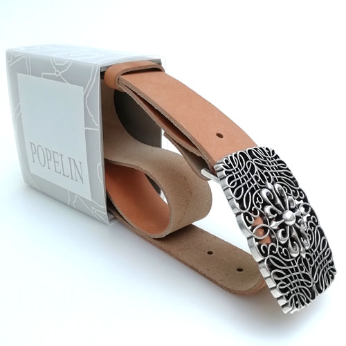 cinturó de cuir artesà amb sivella metàl·lica. Popelin Barcelona