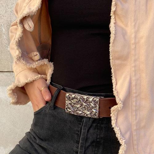 cinturó de cuir per a texans de dona. Popelin Barcelona