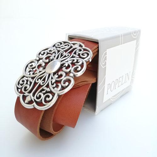 cinturó de cuir per a texans amb sivella metàl·lica. Forja. Disseny original. Popelin Barcelona