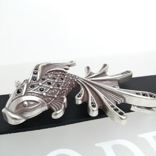 cinturó de pell i sivella Aqua amb bany de plata i cristalls Swarovsky. Cuir natural. Popelin Barcelona