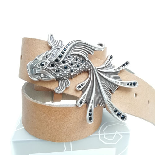 cinturó de pell i sivella Aqua amb bany de plata i cristalls Swarovsky. Original i bonic. Popelin Barcelona
