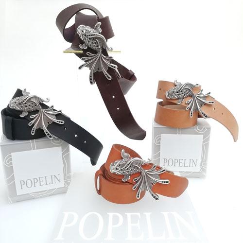 cinturó de pell i sivella Aqua amb bany de plata i cristalls Swarovsky. De diseny. Popelin Barcelona