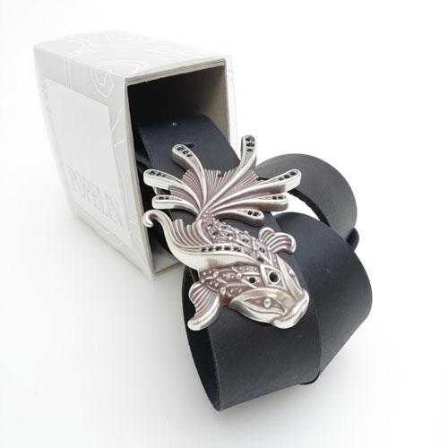 cinturó de pell i sivella Aqua amb bany de plata i cristalls Swarovsky. Per a regal. Popelin Barcelona