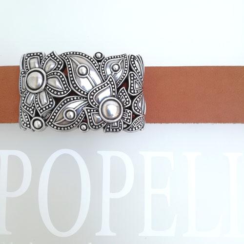 cinturon cuero hebilla metalica Flores Fashion Popelin Barcelona