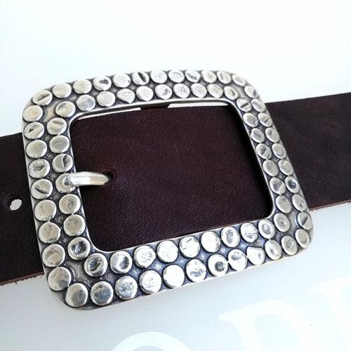 cinturon cuero hebilla original plateada Popelin Barcelona