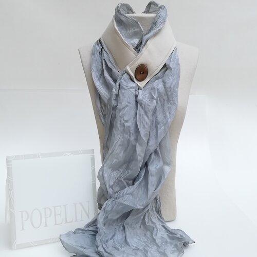 fular seda mujer gris azul original popelin barcelona