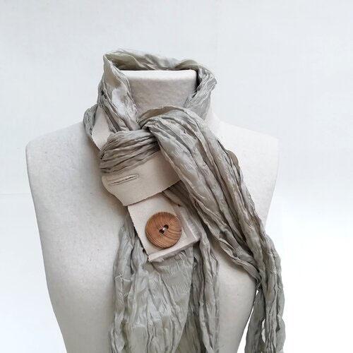 fulard seda natural color pedra disseny catala popelin barcelona