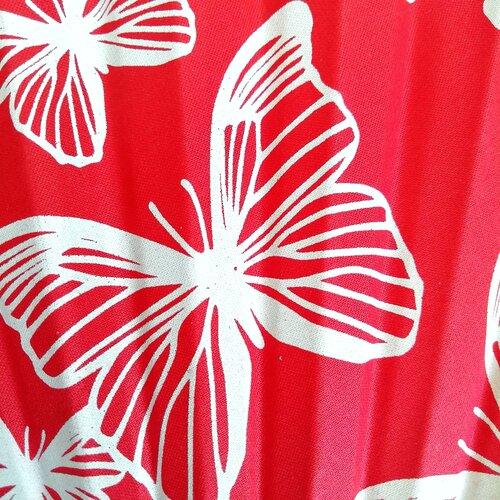 ventall estampat papallona vermell fusta popelin barcelona