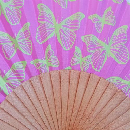 ventall papallones rosa de fusta i cotó. Made in Spain