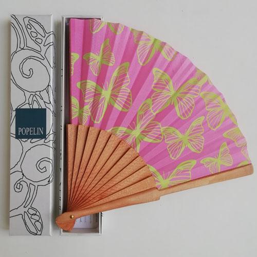ventall papallones rosa de fusta i cotó. Regal ideal