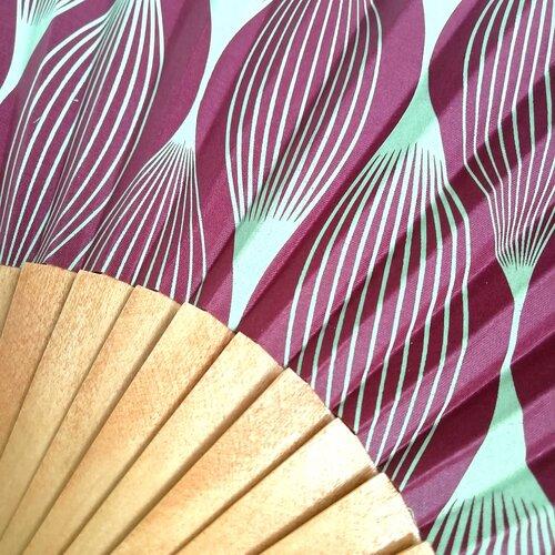 abanico artesano madera algodon Popelin Barcelona