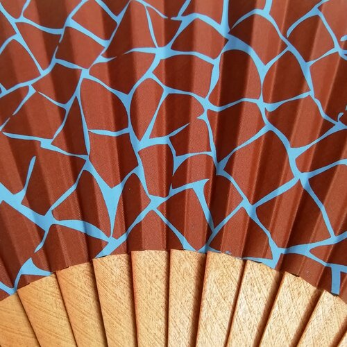 abanico estampado madera tela regalo popelin barcelona
