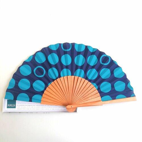 abanico topos azul diseno mujer popelin barcelona
