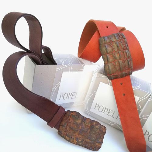 cinturon cuero hebilla metal Yakare Popelin Barcelona