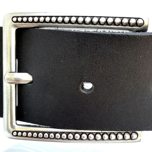 cinturon cuero negro hebilla mujer Popelin Barcelona