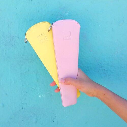 funda abanico bonita color rosa amarillo popelin barcelona