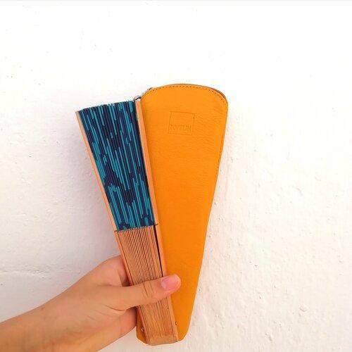 funda abanico color mostaza hecho a mano popelin barcelona