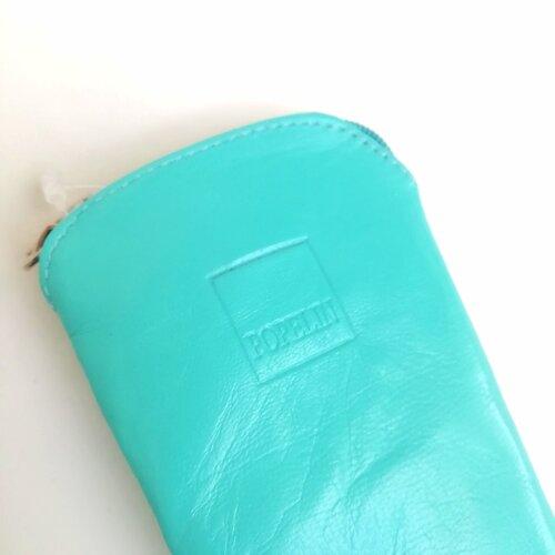 funda abanico cuero azul turquesa diseno popelin barcelona