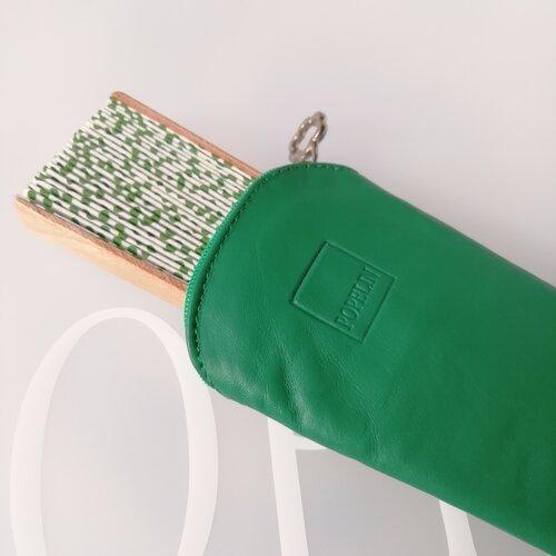 funda abanico cuero verde moderna elegante popelin barcelona
