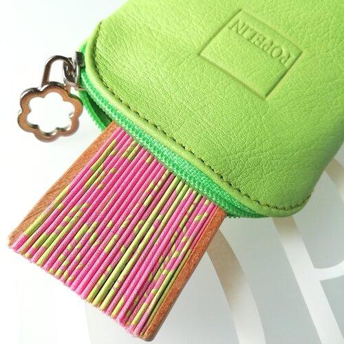 funda abanico cuero verde tienda online popelin barcelona