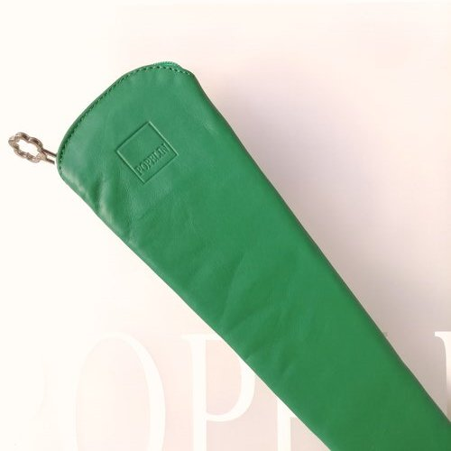 funda abanico verde cuero cremallera popelin barcelona