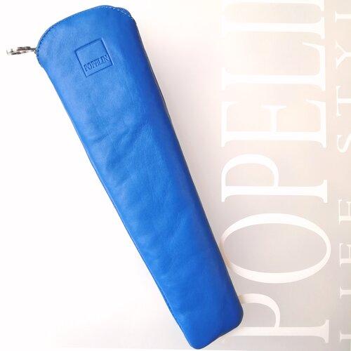 funda ventall cuir blau disseny modern espanya artesà popelin barcelona