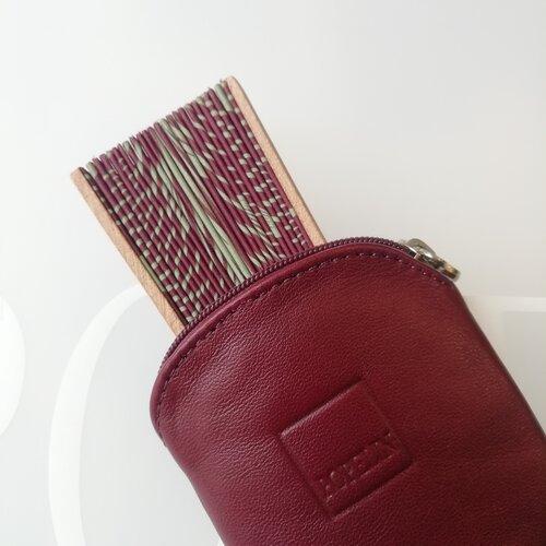 funda ventall cuir bordeus disseny original catalunya popelin barcelona