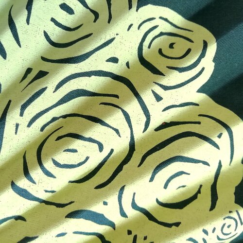 ventall estampat flors roses verd regal perfecte popelin barcelona