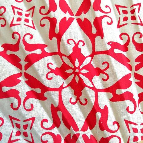 ventall estampat original rajola hidralica vermell popelin barcelona botiga online