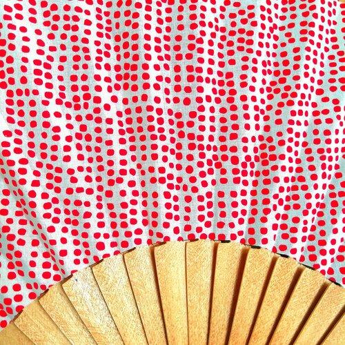 ventall estampat topets vermell fusta tela popelin barcelona