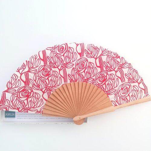 abanico artesanal esgrafiado rojo modernismo popelin barcelona