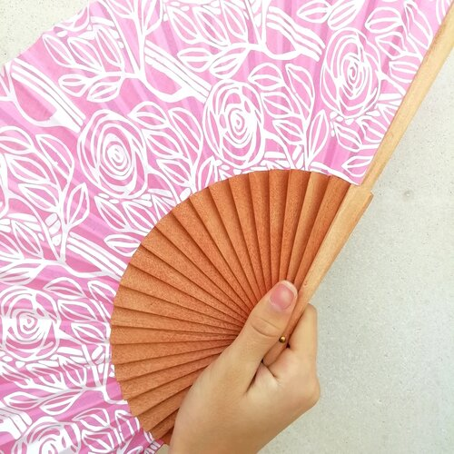 abanico esgrafiado modernista rosa blanco popelin barcelona