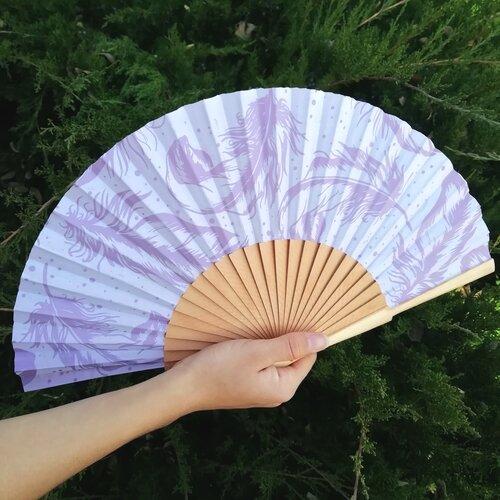 abanico estampado plumas color malva popelin barcelona espana