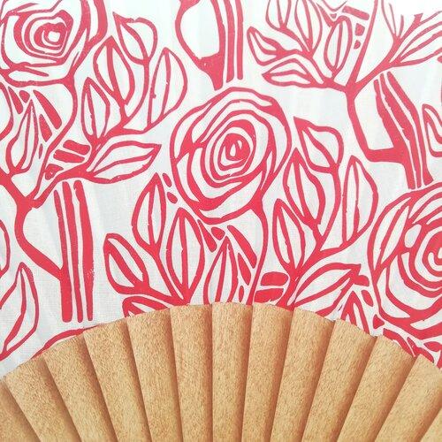 abanico estampado rojo esgrafiado regalo mujer popelin barcelona