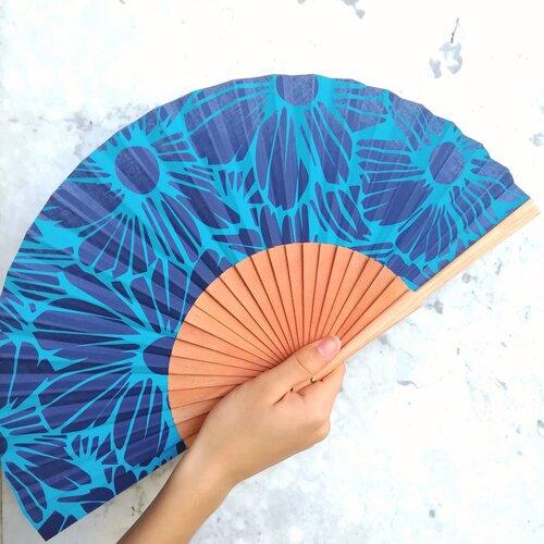 abanico margaritas azules regalo mujer popelin barcelona