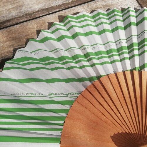 abanico rayas verde moderno bonito diseno popelin barcelona spain handmade