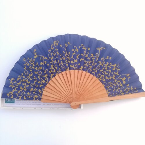 ventall matisse color blau disseny original popelin barcelona artesania catalunya