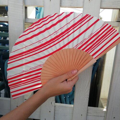ventall vermell ratlles popelin barcelona catalunya artesania