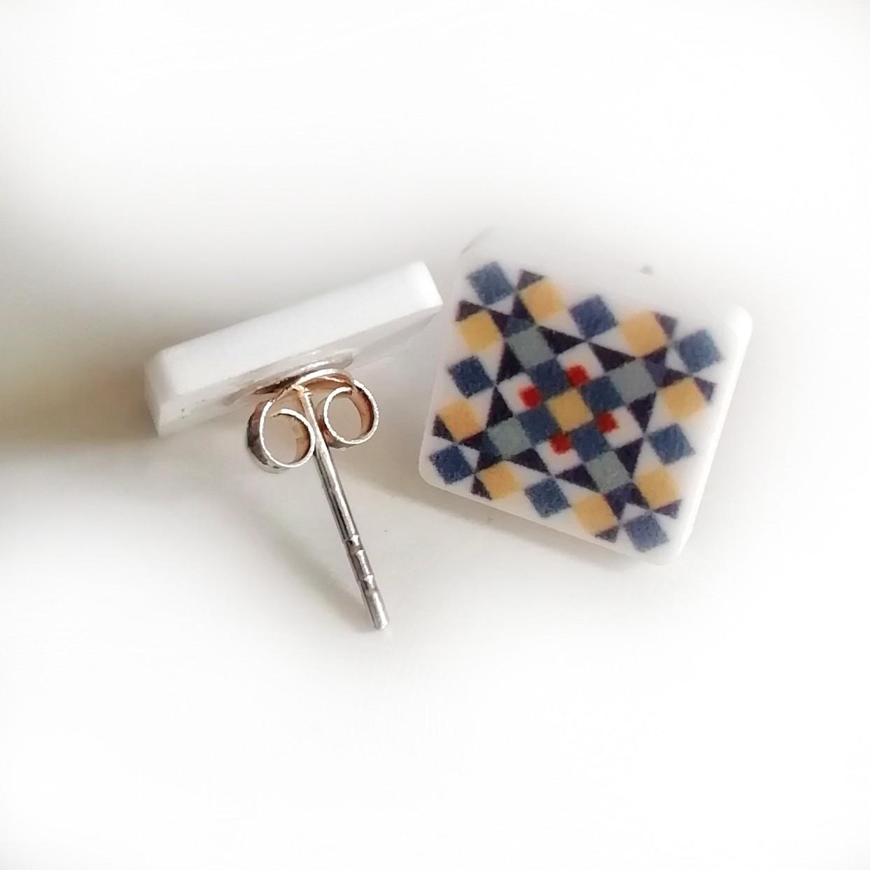 arrecades mosaic E argent popelin barcelona