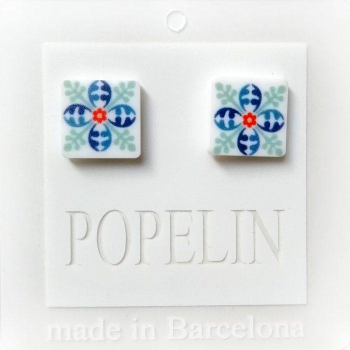 arrecades mosaic F argent regal dona popelin barcelona